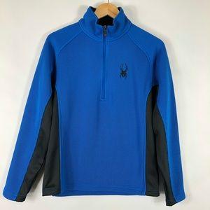 Spyder Mens Outbound Half Zip Blue Sweater  Lined